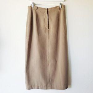 Vintage Tan High Rise Long Pencil Skirt